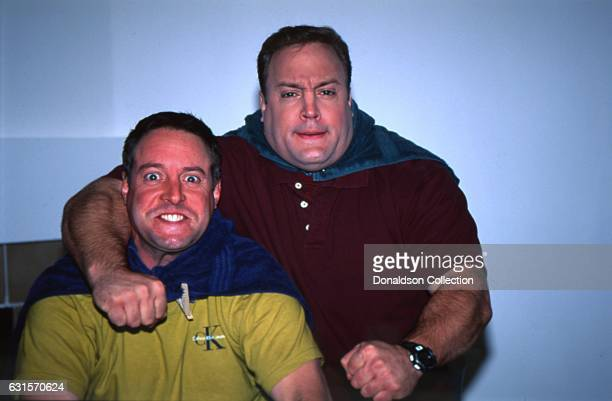 Actor and comedian Kevin James poses for a portrait session with his older brother Gary Valentine in 1995 in Los Angeles California