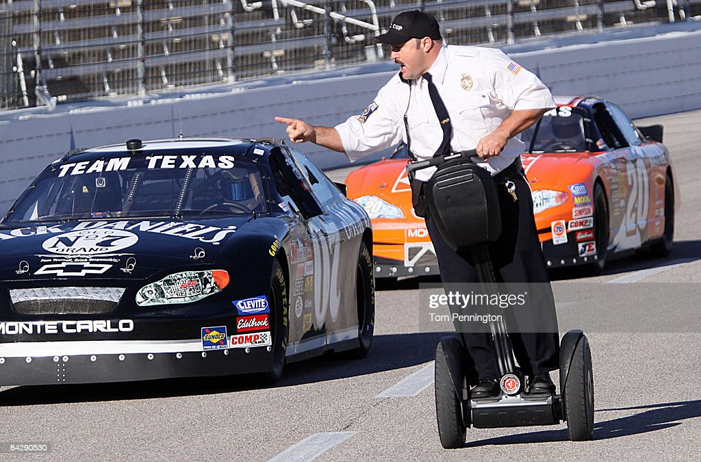 WORTH, TX JANUARY 14 - Actor and comedian Kevin James races NASCAR stock cars with his Segway to promote the release of his new movie 'Paul Blart: Mall Cop' at Texas Motor Speedway January 14, 2009 in Fort Worth, Texas.