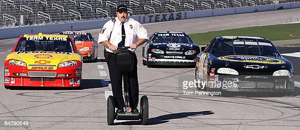 WORTH TX JANUARY 14 Actor and comedian Kevin James races NASCAR stock cars with his Segway to promote the release of his new movie Paul Blart Mall...