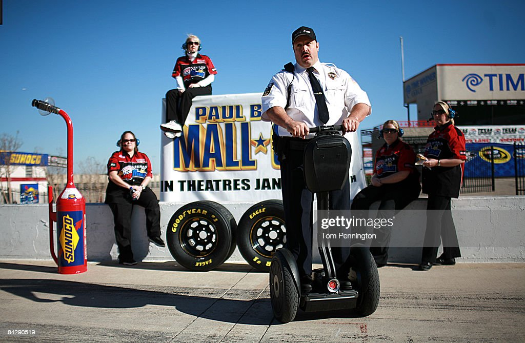 WORTH, TX JANUARY 14 - Actor and comedian Kevin James stops in a pit stall with his Segway to promote the release of his new movie, 'Paul Blart: Mall Cop' at Texas Motor Speedway in Fort Worth, Texas.