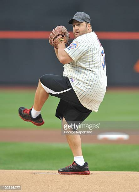 Actor and comedian Kevin James throws the first pitch at Citi Field on June 22, 2010 in New York City.