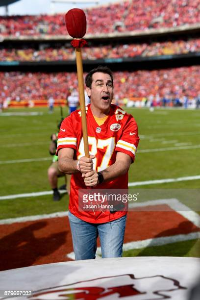Actor and Comedian Rob Riggle banged the Kansas City Chiefs ceremonial drum prior to the game against the Buffalo Bills at Arrowhead Stadium on...