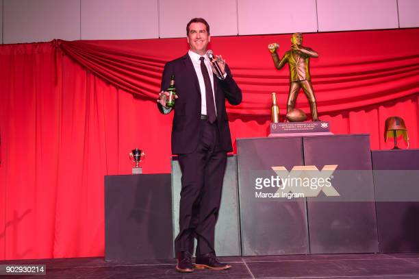 Actor and comedian Rob Riggle speaks at 'Matt Leinart and Rob Riggle Unveil Dos Equis' Most Interesting Fan of College Football' at College Football...