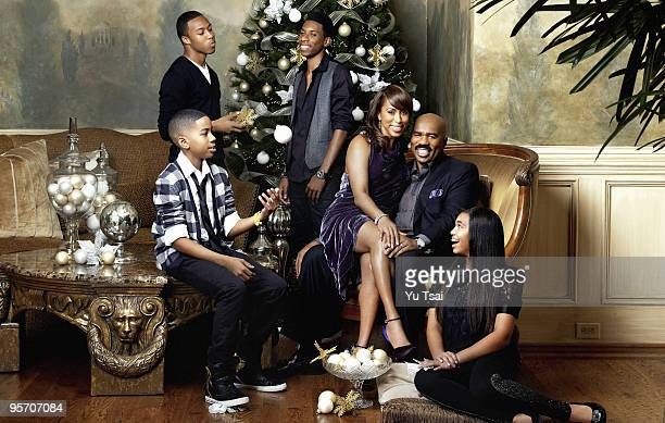 Actor and comedian Steve Harvey is photographed with his wife Marjorie and family in his home in Atlanta GA for Essence Magazine PUBLISHED IMAGE