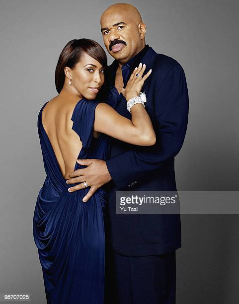 Actor and comedian Steve Harvey is photographed with his wife Marjorie in his home in Atlanta GA for Essence Magazine