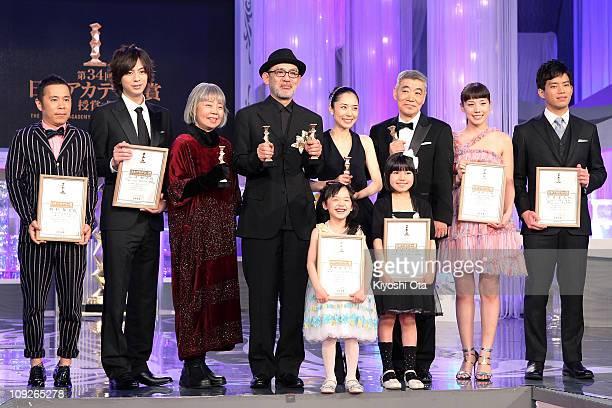 Actor and comedian Takashi Okamura, actor Shohei Miura, actress Kirin Kiki, director Tetsuya Nakashima, actress Mana Ashida, actress Eri Fukatsu,...