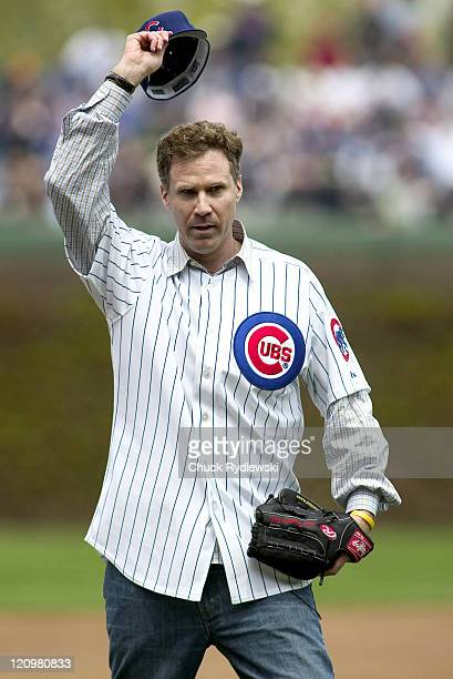 Actor and comedian Will Ferrell acknowledges the the fans cheers prior to the Philadelphia PhilliesChicago Cubs game at Wrigley Field in Chicago...