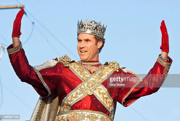 Actor and comedian Will Ferrell greets fans as he reigns as King of Bacchus in the 2012 Krewe of Bacchus Parade on February 19 2012 in New Orleans...