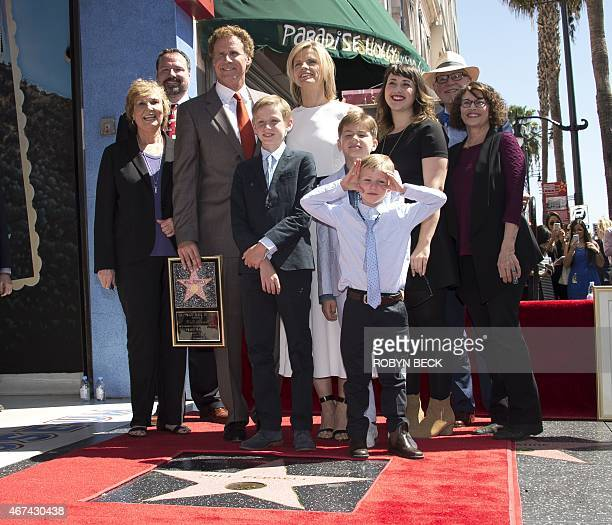 Actor and comedian Will Ferrell stands on his star on the Hollywood Walk of Fame with members of his family including his wife Viveca Paulin and...