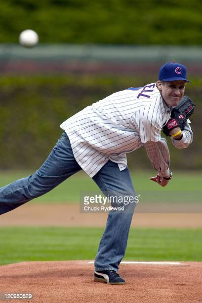 Actor and comedian Will Ferrell throws out the ceremonial 1st Pitch prior to the Philadelphia PhilliesChicago Cubs game at Wrigley Field in Chicago...