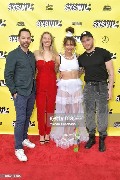 Actor and cowriter Nick Kroll actress Morgan Schild actress and cowriter Alexi Pappas and and actor Gus Kenworthy attend the 'Olympic Dreams'...