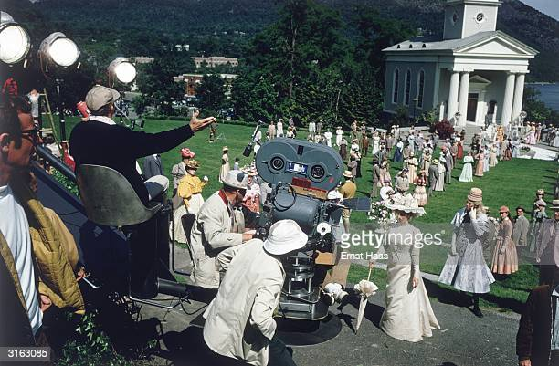 Actor and dancer Gene Kelly directs Barbra Streisand in the film musical 'Hello Dolly' The movie is being filmed on location at Garrison on the...
