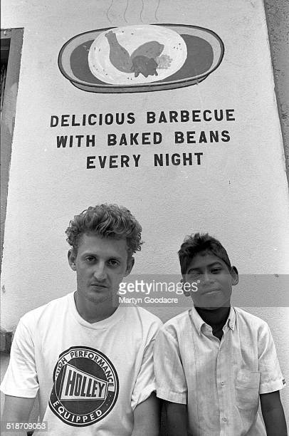 Actor and director Alex Winter during a Bomb The Bass video shoot Belize 1992