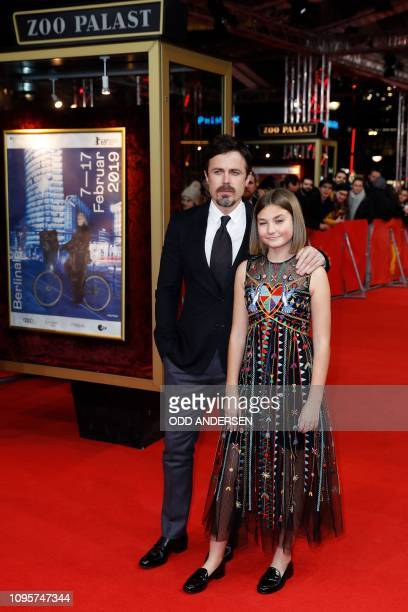 US actor and director Casey Affleck and actress Anna Pniowsky walk over the red carpet as they arrive for the premiere of the film Light of My Life...