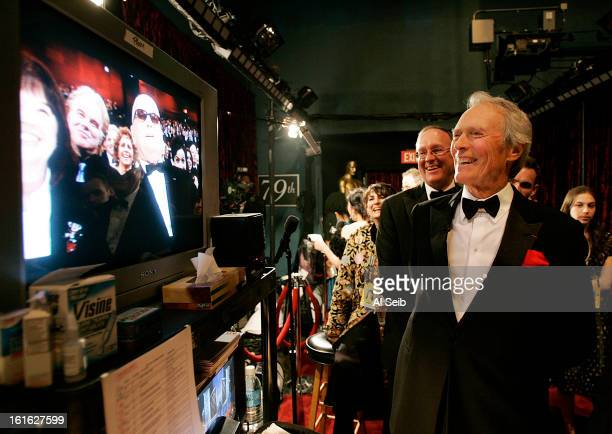 Actor and director Clint Eastwood enjoys the show backstage at the 79th Annual Academy Awards on Sunday February 25 2007 at the Kodak Theatre for the...