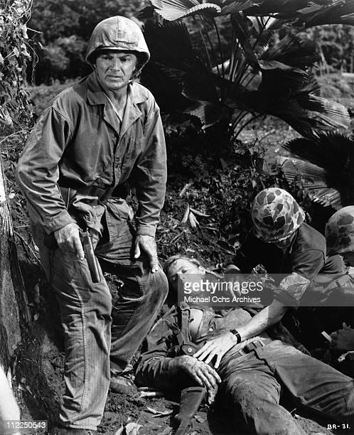 Actor and director Cornel Wilde in a scene from the movie 'Beach Red' in 1967 in The Philippines