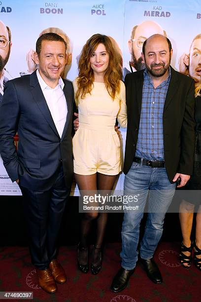 Actor and director Dany Boon with actors Alice Pol and Kad Merad attend the 'Supercondriaque' Paris movie premiere held at Gaumont Opera Capucines on...