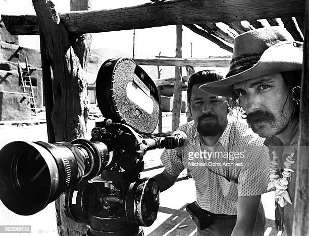 Actor and director Dennis Hopper and cameraman Laslo Kovacs prepare to shoot a scene from his movie 'Easy Rider' in 1969 in Taos New Mexico