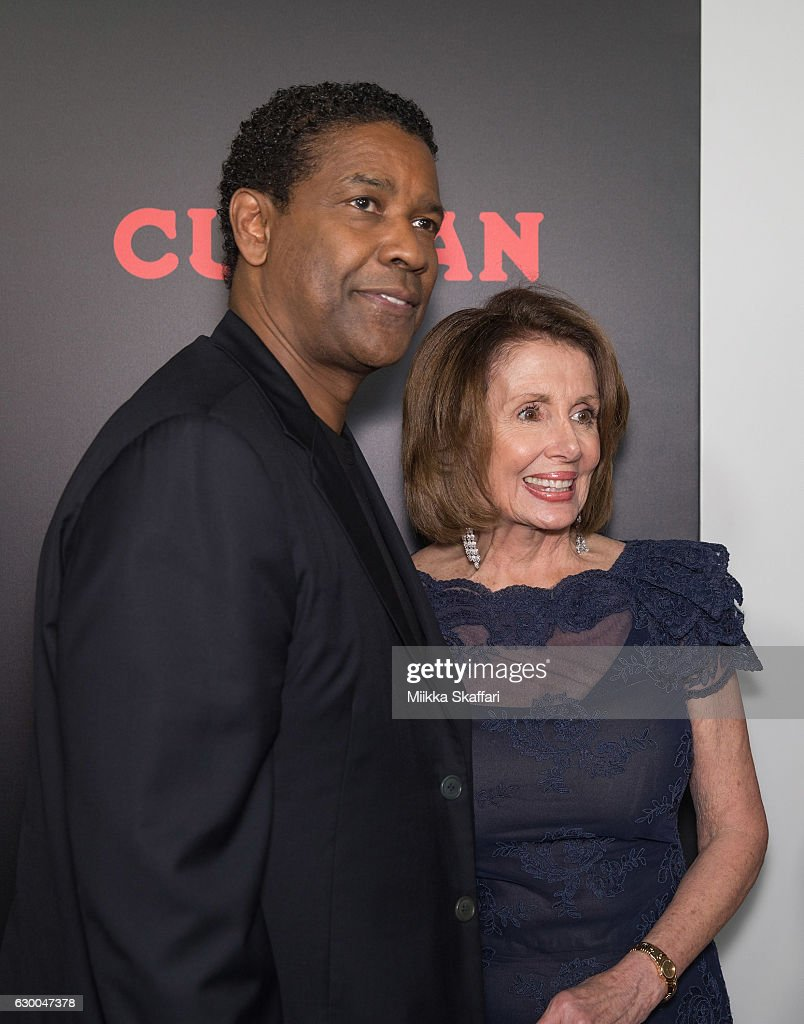Actor and director Denzel Washington and congresswoman Nancy Pelosi arrive at the Premiere of 'Fences' at Curran Theatre on December 15, 2016 in San Francisco, California.