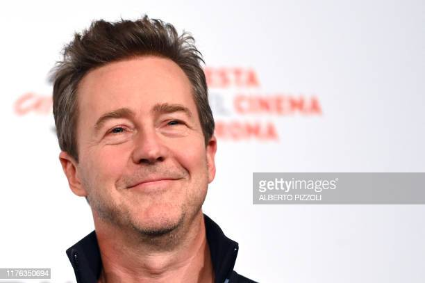 US actor and director Edward Norton poses during a photocall the US crime drama Motherless Brooklyn he directed during the 14th Rome Film Festival on...