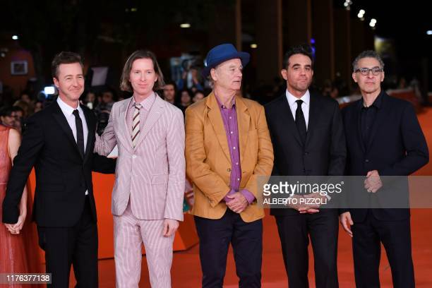 US actor and director Edward Norton US director Wes Anderson US actor Bill Murray US actor Bobby Cannavale and US actor John Turturro arrive for the...