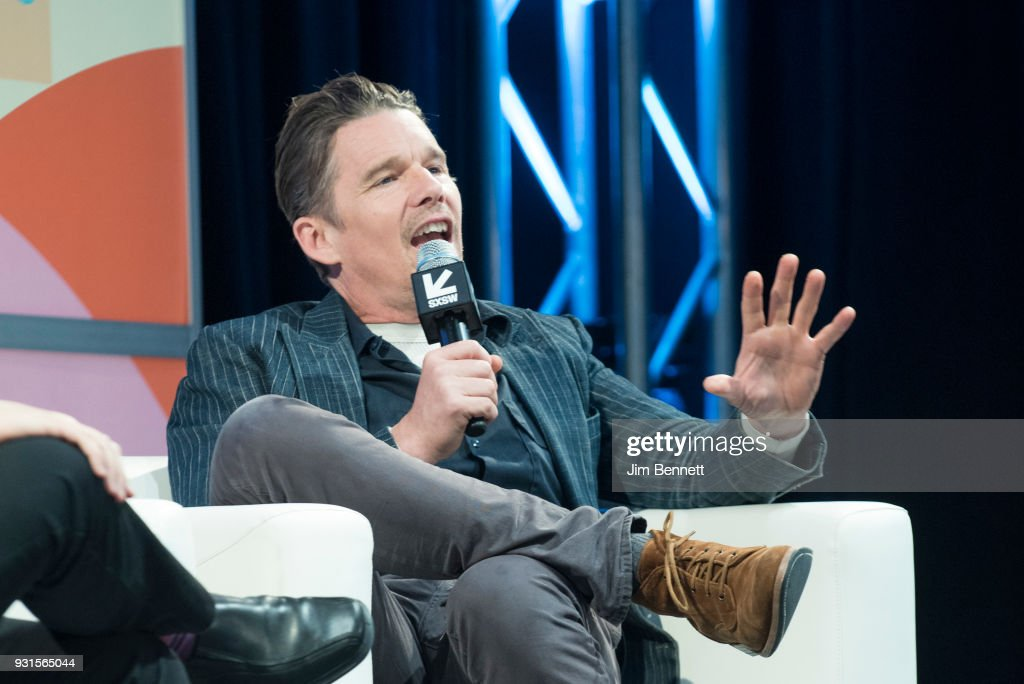 Actor and director Ethan Hawke talks on stage during his SXSW Film session on March 13, 2018 in Austin, Texas.