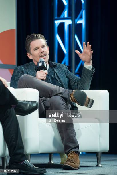 Actor and director Ethan Hawke talks on stage during his SXSW Film session on March 13 2018 in Austin Texas