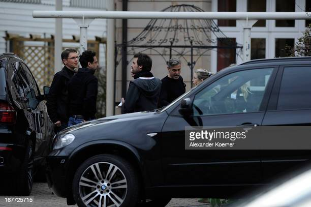 Actor and director George Clooney is seen entering his hotel through the backdoor on April 28 2013 in Ilsenburg Germany Clooney will shoot his...