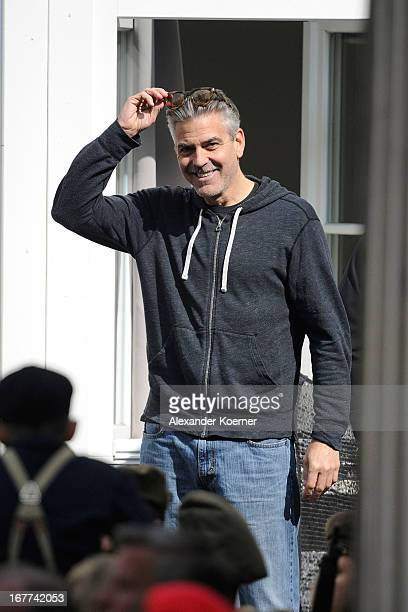 Actor and director George Clooney is seen on set of his current project The Monuments Men on April 29 2013 in Goslar Germany The film features...