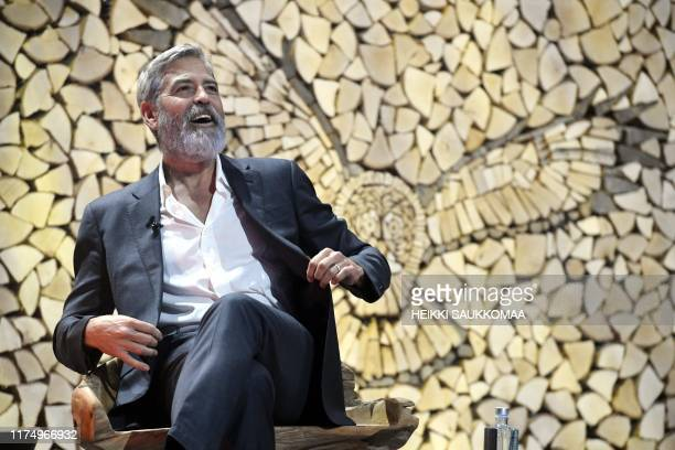 Actor and director George Clooney speaks during the Nordic Business Forum business seminar in Helsinki, Finland on October 10, 2019. / Finland OUT