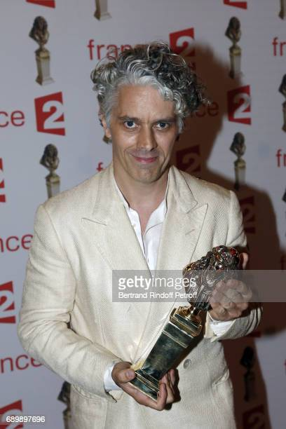 Actor and Director James Thierree receives a 'Moliere' award during La Nuit des Molieres 2017 at Folies Bergeres on May 29 2017 in Paris France