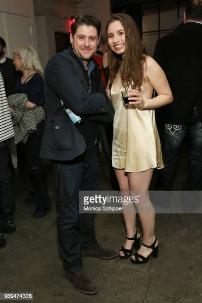 Actor and director Jon Abrahams and actress Bella Zionts attend the All At Once New York Premiere at Metrograph on March 28 2018 in New York City
