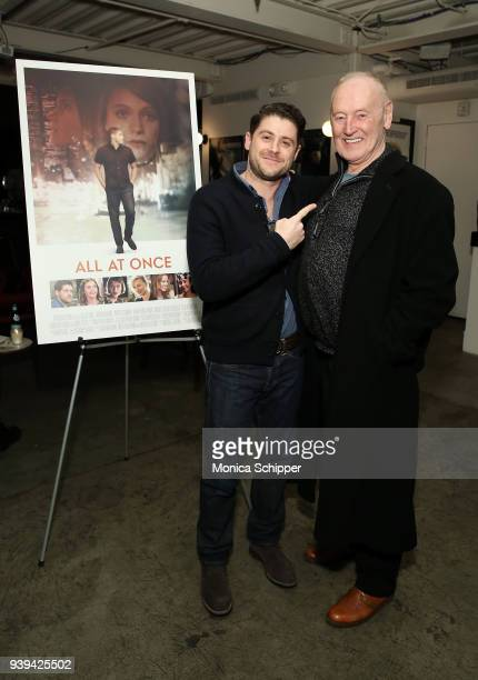 Actor and director Jon Abrahams and Reeves Lehnann attend the All At Once New York Premiere at Metrograph on March 28 2018 in New York City