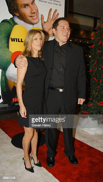 Actor and Director Jon Favreau and his wife Joya Tillem attend a special screening of Elf to benefit the TJ Martell Foundation November 2 2003 at...