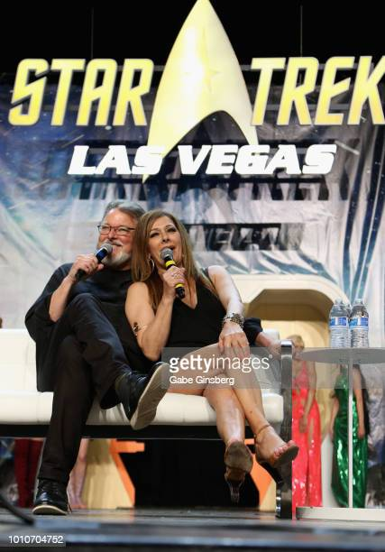 "Actor and director Jonathan Frakes and actress Marina Sirtis speak at the ""TNG - Part 2"" panel during the 17th annual official Star Trek convention..."