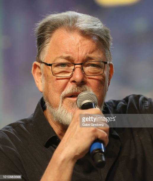 Actor and director Jonathan Frakes speaks at the TNG Part 2 panel during the 17th annual official Star Trek convention at the Rio Hotel Casino on...