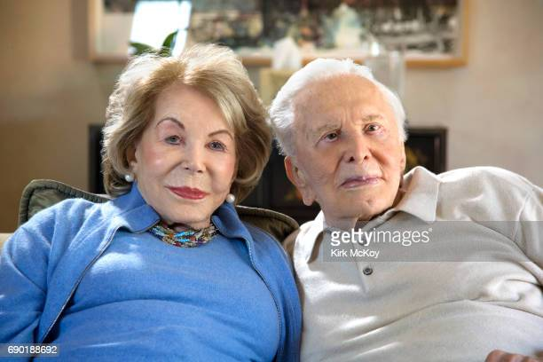 Actor and director Kirk Douglas and wife Anne Douglas are photographed for Los Angeles Times on April 10 2017 in Los Angeles California PUBLISHED...