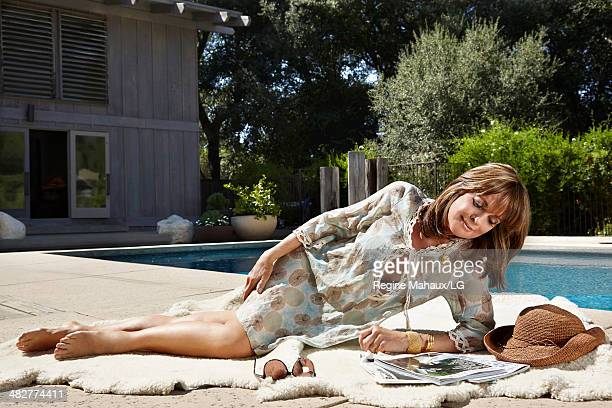 Actor and director Linda Gray is photographed in her home for Self Assignment on August 13 2013 in Los Angeles California