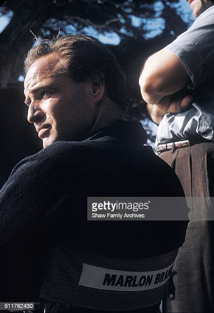 Actor and director Marlon Brando seated in his director's chair circa 1959 during the filming of 'OneEyed Jacks' in Monterey California