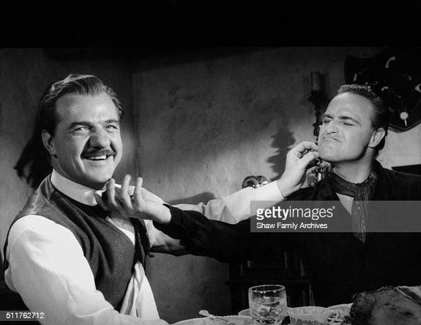 Actor and director Marlon Brando with costar Karl Malden circa 1959 during the filming of 'OneEyed Jacks' in Los Angeles California