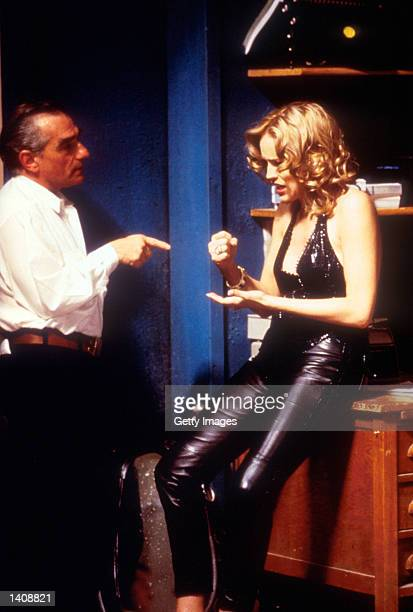 Actor and director Martin Scorsese and actress Sharon Stone in a scene from 'Casino'