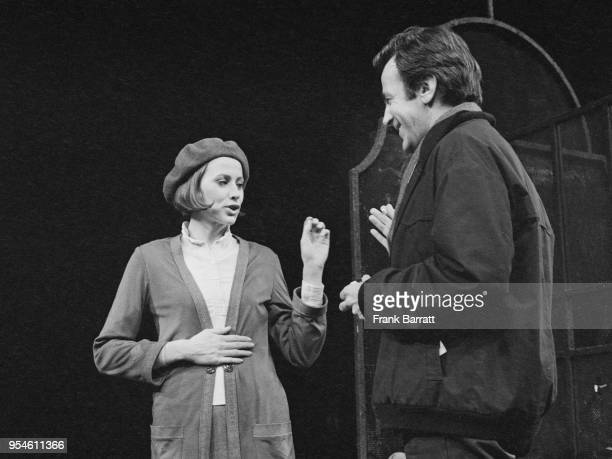 Actor and director Maximilian Schell directs actress Kate Nelligan as Marianne in a rehearsal for the play 'Tales From The Vienna Woods' at the...