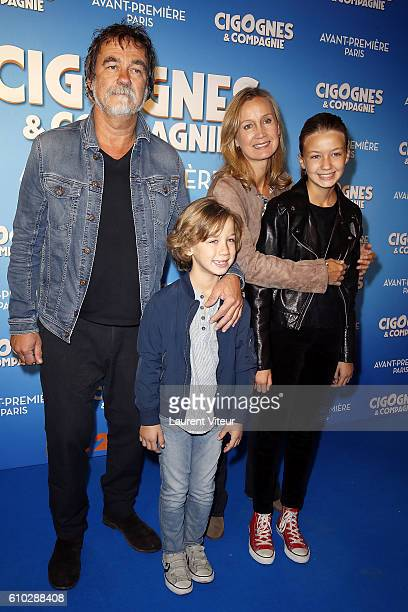 Actor and Director Olivier Marchal his wife Actress Catherine Marchal them son Basile and them daughter Ninon attend the Cigognes Compagnie Paris...