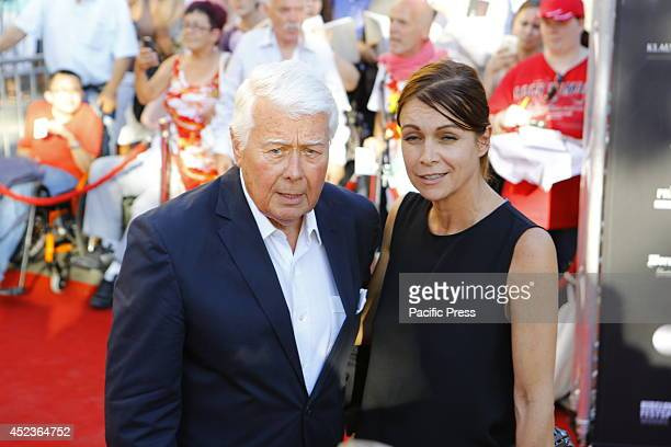 Actor and director Peter Weck poses with his daughter Barbara Weck for the cameras on the red carpet Celebrities from politics sports and film came...