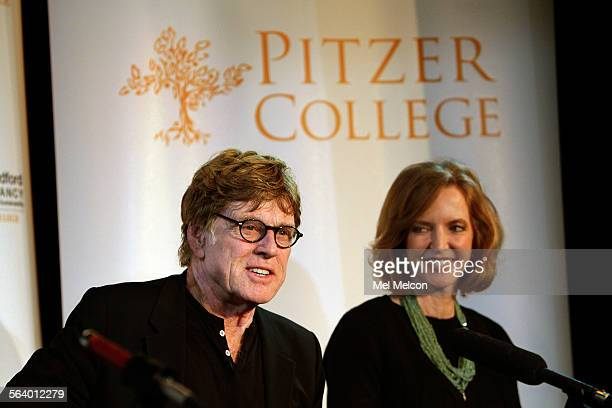 Actor and director Robert Redford and Laura Skandera Trombley President of Pitzer College in Claremont participate in a press conference at the Los...