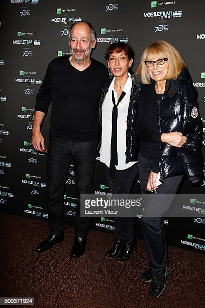 Actor and Director Sam Karmann, Actress Julie Debazac and Actress Mireille Darc attend '1 mobile, 1 minute, 1 film' As Part Of Mobile Film Festival...