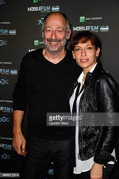 Actor and Director Sam Karmann and Actress Julie Debazac attend '1 mobile, 1 minute, 1 film' As Part Of Mobile Film Festival at Gaumont Champs...