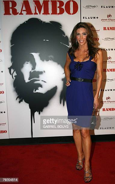 Actor and Director Sylvester Stallone's wife Jennifer Flavin arrives for the world premiere of Rambo at the Planet Hollywood resort in Las Vegas...