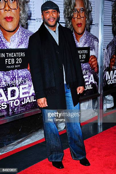 Actor and director Tyler Perry attends a screening of Tyler Perry's Madea Goes to Jail at the AMC Loews Lincoln Center on February 18 2009 in New...