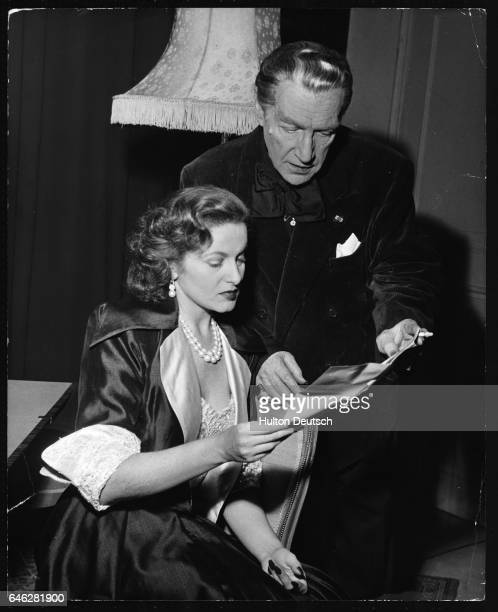 Actor and dramatist Sacha Guitry and his wife actress Lana Marconi in Ecoutez Bien Messieurs at the Winter Garden Theatre ca 1950's